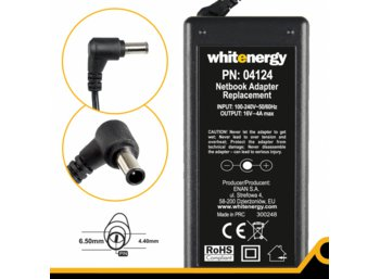 Whitenergy Zasilacz 16V | 4A 65W wtyk 6.5x4.4mm + pin  04124