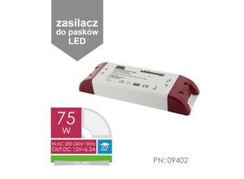 Whitenergy Zasilacz LED SLIM 230V|75W|12V