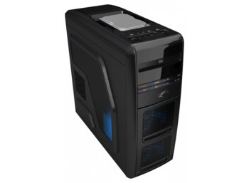"LC-POWER OBUDOWA CASE-PRO-975B ""AIR WING"" MIDITOWER FRONT 1 X USB 3.0 2X USB 2.0 HD-AUDIO 2x120mm BLUE LED FAN BEZNARZEDZIOWA CZARNA BEZ ZAS"