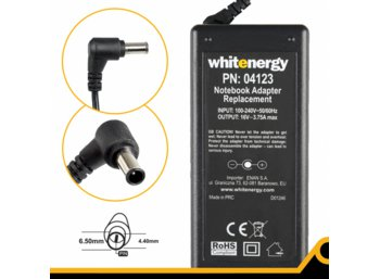 Whitenergy Zasilacz 16V | 3.75A 60W wtyk 6.5*4.4 mm + pin 04123