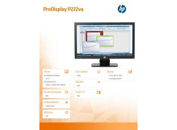 "HP 21.5"" ProDisplay P222va LED Monitor      K7X30AA"