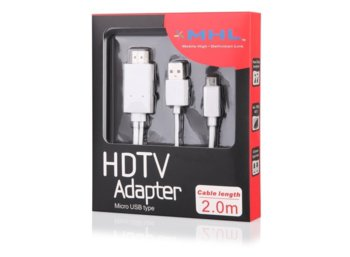 Global Technology Kabel HDMI MHL microUSB(2m)z zasilaniem 5pin Sony, HTC, Huawei
