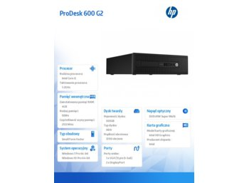 HP Inc. 600 G2PD SFF i5-6500 500/4GB/Win10    P1G57EA
