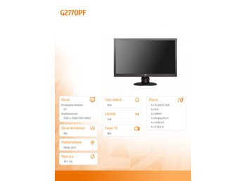 AOC 27''  G2770PF  LED DVI HDMI DP Pivot