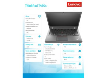 "Lenovo ThinkPad T450s 20BWS4Q400 Win7Pro & Win10Pro64bit i7-5600U/8GB/1TB/HD5500/3c/14.0"" FHD IPS AG, NT/3 Years On Site"