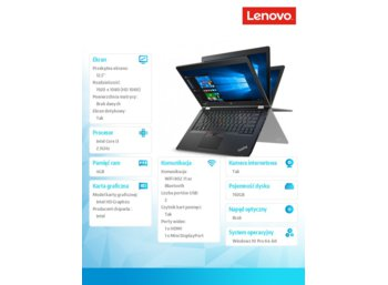 "Lenovo ThinkPad Yoga 260 20FD0020PB Win10Pro 64bit i3-6100U/4GB/SSD 192GB/HD520/12.5"" FHD IPS, Touch, Black/1 Year Carry In"