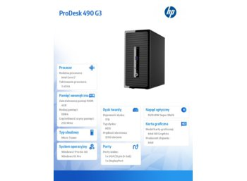 HP Inc. ProDesk 490 G3 PD MT i7-6700 1TB/4GB/Win10 PC P5K16EA