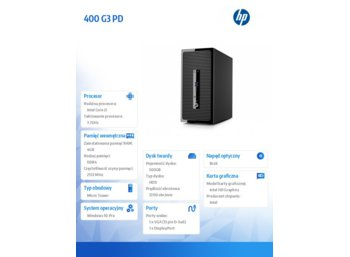 HP Inc. ProDesk 400 G3 P5K01EA - i3-6100 / 4GB / 500GB / Win10Pro / MT