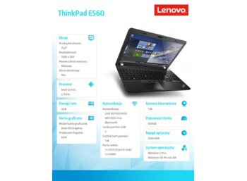 "Lenovo ThinkPad E560 20EV000UPB Win7Pro & Win10Pro64bit i5-6200U/4GB/500GB/HD5200/DVD Rambo/6c/15.6"" HD AG,Graphite Black/1 Year Carry In"