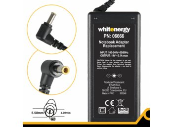 Whitenergy Zasilacz 19V | 2A 38W wtyk 5.5x3.0mm + pin 06666