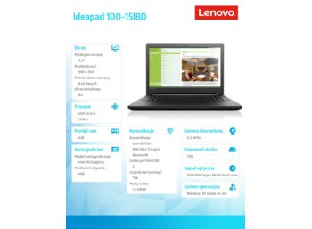"Lenovo IdeaPad 100-15IBD 80QQ00BNPB W10 HOME STD i5-5200U/4GB/1TB/INTEGRATED/15.6"" BLACK TEXTURE"