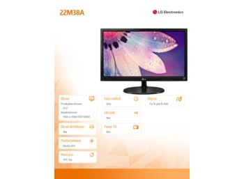 LG Electronics 21.5'' 22M38A-B LED 5ms D-sub