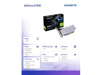 Gigabyte GeForce CUDA GT610 2GB (64) pasiv D H Ds D3
