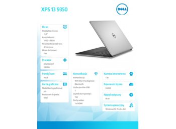 "Dell XPS 13 9350 Win10Pro i7-6560U/512GB/16GB/Iris 540/13.3""QHD+/Touch/KB-Backlit/56WHR/2Y DND"