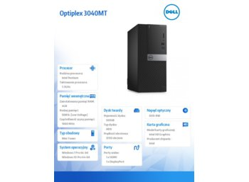 Dell Optiplex 3040MT Win7/10Pro (64-bit win10, nosnik) G4400/500GB/4GB/Integrated/MS116/KB216/3Y NBD