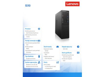 Lenovo S510 SFF 10KY000TPB W7P&W10Pro G4400/4GB/500GB/INTEGRATED/DVD/3YRS OS