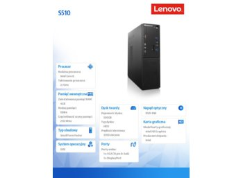 Lenovo S510 SFF 10KY000JPB DOS i5-6400/4GB/500GB/INTEGRATED/DVD/3YRS OS