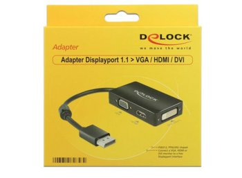 Delock Adapter Displayport 1.1 ->HDMI/VGA/DVI 16cm