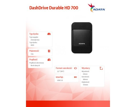 Adata DashDrive Durable HD700 1TB 2.5'' USB3.1 Czarny