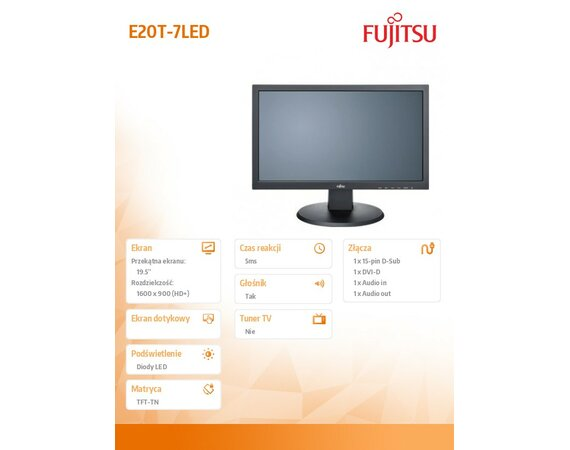 Fujitsu Monitor 19.5 Display E20T-7LED Black S26361-K1538-V161