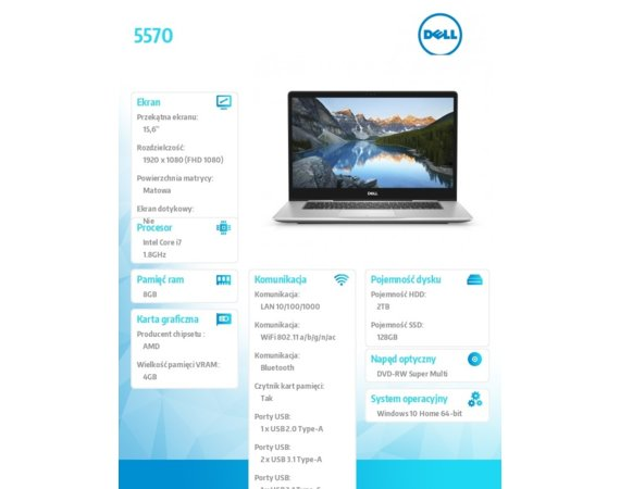 "Dell Laptop Inspiron 5570 Windows 10Home i7-8550U/128GB/2TB/8GB/AMD Radeon 530/15.6""FHD/42WHR/Silver/1Y NBD+1Y CAR"