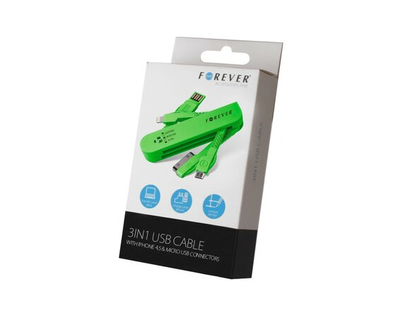 Forever  Kabel 3w1 30-PIN (iPhone 4) & Lightning (iPhone 5) micro USB Zielony