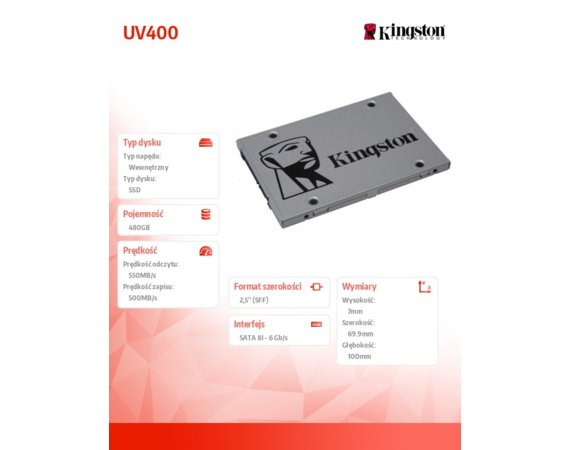 Kingston SSD UV400 SERIES 480GB SATA3 2.5' 550/500 MB/s