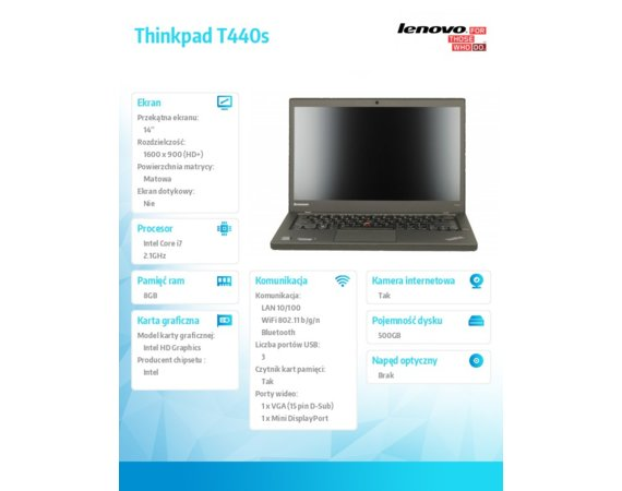 "Lenovo Thinkpad T440s 20ARA1GWPB Win7Pro & Win8.1Pro64-bit i7-4600U/8GB/500GB/Intel HD/N-Optical/3c/14.0"" HD+,N-WWAN,Black/3Yrs OS"