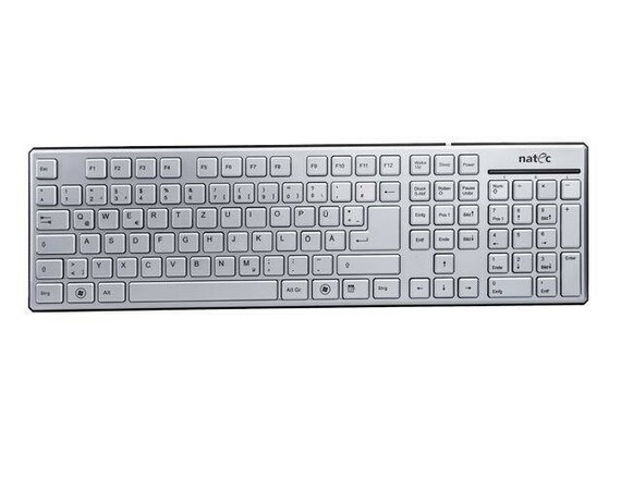 NATEC Klawiatura STARFISH Slim Sliver USB (German Layout)