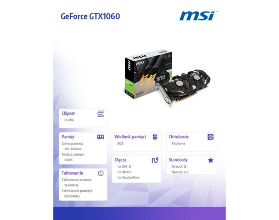 MSI GeForce GTX 1060 6GB OC DDR5 192BIT DVI/HDMI/DP