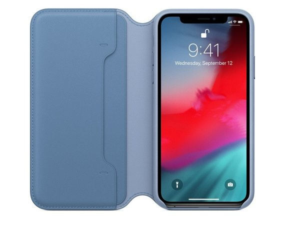 Apple Etui skórzane folio Iphone XS - chabrowe