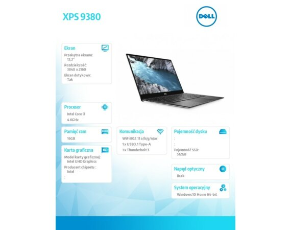 "Dell XPS 9380 Win10Home i7-8565U/512GB/16GB/Intel UHD/13.3""UHD/Touch/KB-Backlit/52WHR/Silver/2Y NBD"