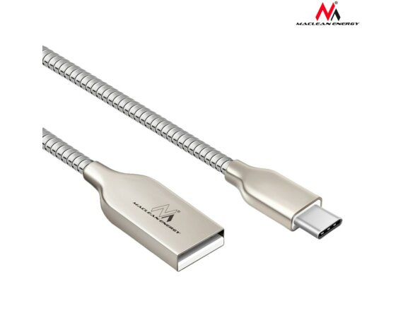 Maclean Kabel USB Type-C metalowy MCE192 - Quick & Fast Charge Srebrny