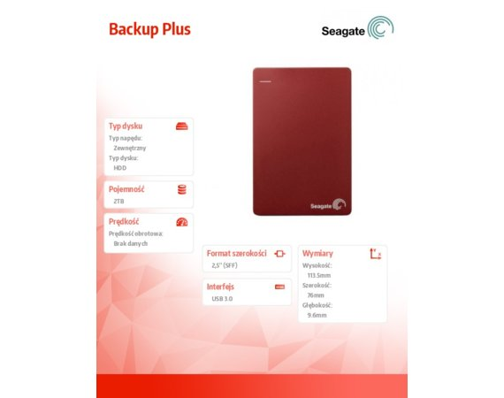 Seagate Backup Plus 2TB 2,5 STDR2000203 Red