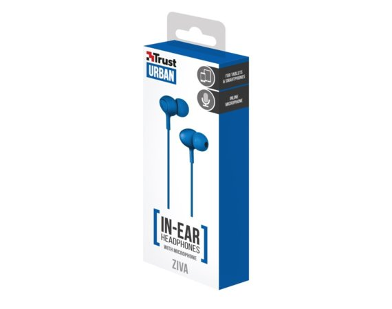 Trust Ziva In-ear Headphones with microphone blue