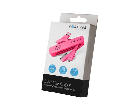 Forever  Kabel 3w1 30-PIN (iPhone 4) & Lightning (iPhone 5) micro USB Różowy