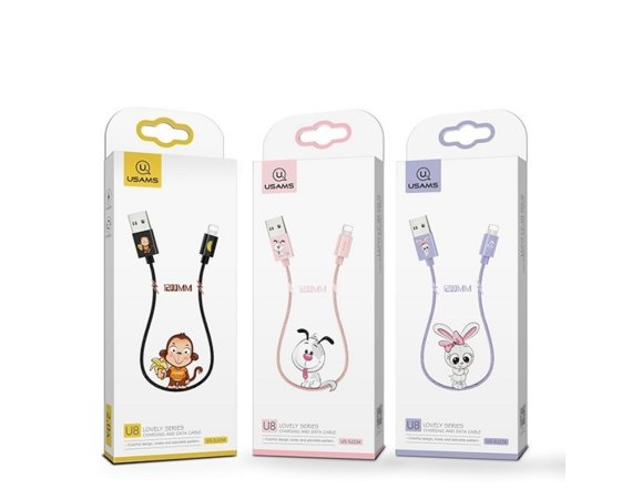 USAMS Kabel pleciony U8 US-SJ234 Lovely Series lightning 1,2m, fioletowy Rabbit