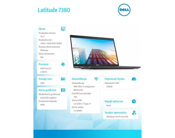 "Dell Latitude 7380 Win10Pro i7-7600U/SSD256GB/8GB/Integrated/13.3"" FHD/4-cell/KB-Backlit/3Y NBD"