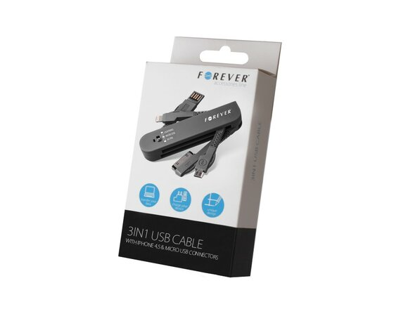 Forever  Kabel 3w1 30-PIN (iPhone 4)+ Lightning (iPhone 5)+ micro USB czarny