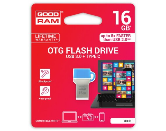 GOODRAM ODD 16GB 35/10 MB/s USB3.0 Blue