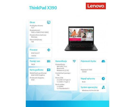Lenovo Ultrabook ThinkPad X390 20Q0005PPB W10Pro i7-8565U/16GB/512GB/INT/LTE/13.3 FHD/Touch/Black/3YRS OS