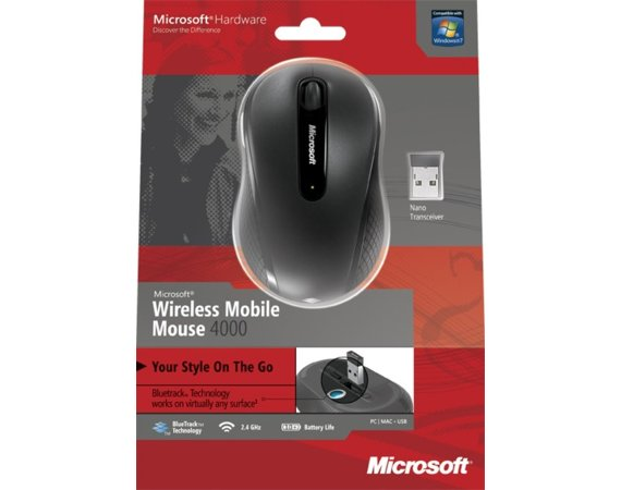 Microsoft Wireless Mobile Mouse 4000 BlueTrack Grafitowy D5D-00006
