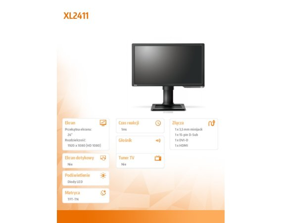 ZOWIE Monitor 24 XL2411 LED 1ms/12MLN:1/HDMI/GAMING