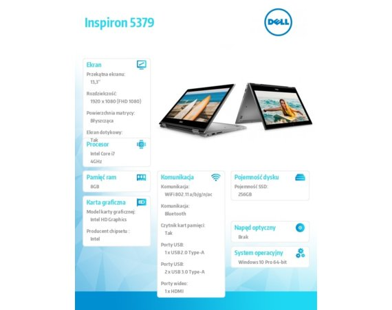 "Dell Inspiron 5379 W10Pro i7-8550U/256GB/8GB/Intel HD/13.3""FHD/42WHR/Grey/3Y NBD"
