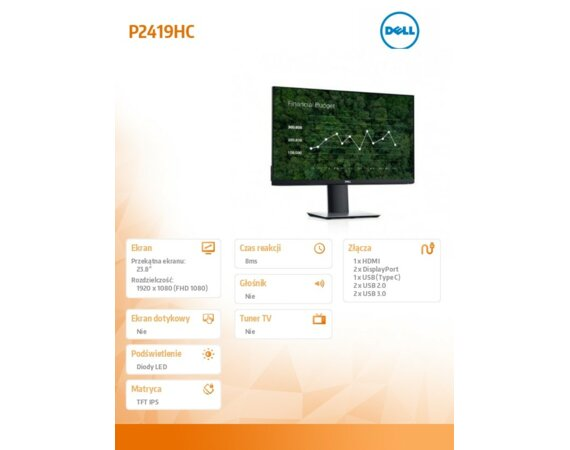 "Dell Monitor P2419HC 23,8"" IPS LED  Full HD (1920x1080) /16:9/HDMI/DP/USB-C/4xUSB/5Y PPG"
