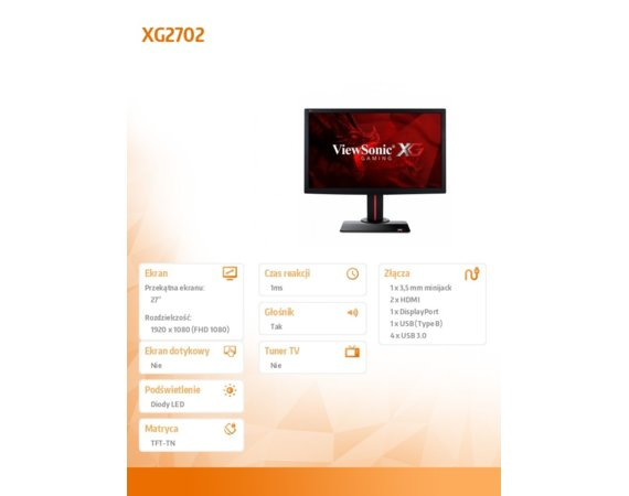 ViewSonic Monitor 27 cali XG2702 (TN,1920 x 1080, 1 ms, 144Hz, AMD FreeSync)