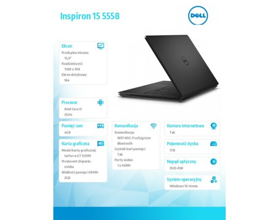 "Dell Inspiron 15 5558 Win10 i3-5005U/1TB/4GB/DVDRW/GF920M/15.6""HD/40WHR/Black/2Y NBD"
