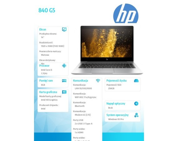 HP Inc. 840 G5 i5-8350U W10P 256/8GB/14' 3JX77E