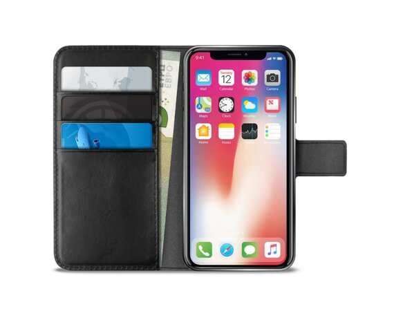 PURO Booklet Wallet Case - Etui iPhone X z kieszeniami na karty + stand up (czarny)