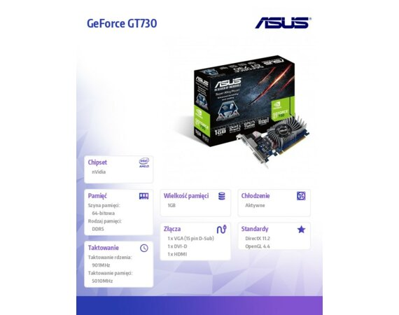 Asus GeForce CUDA GT730 1GB DDR5 PCI-E 64BIT HDMI/DVI/DS